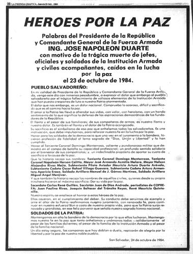 Mensaje del Presidente Jose Napoleon Duarte